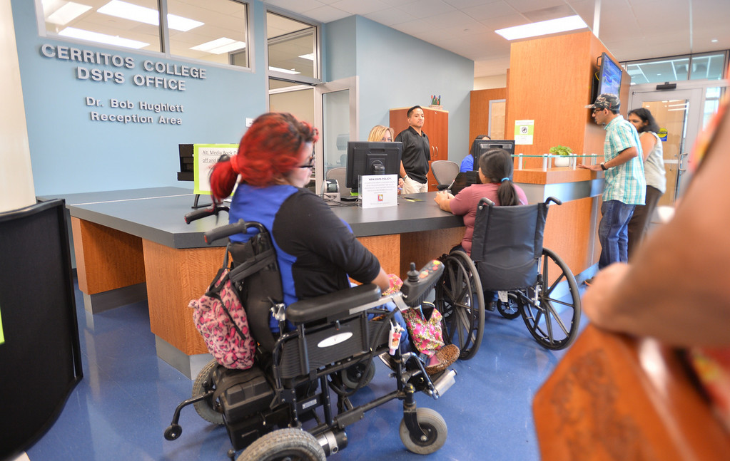 . DSPS (Disabled Students Programs and Services) office is a center for helping disabled students get the help they need to succeed in college. First day of classes at Cerritos College for the fall semester. Students will see new buildings, programs and food services. Enrollment is up 5.8%. (Aug. 18 2014 Photo by Brad Graverson/The Press Telegram)