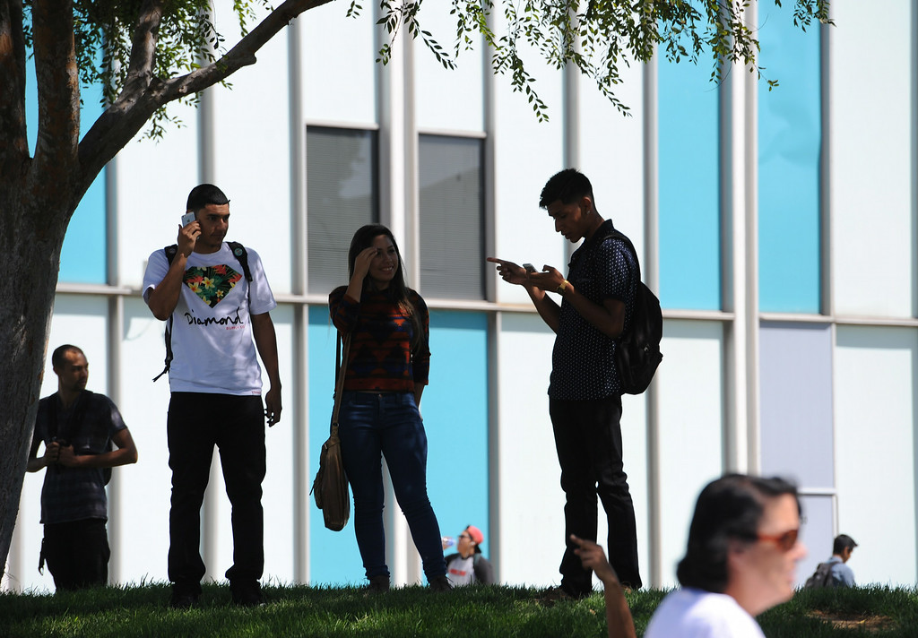. First day of classes at Cerritos College for the fall semester. Students will see new buildings, programs and food services. Enrollment is up 5.8%. (Aug. 18 2014 Photo by Brad Graverson/The Press Telegram)