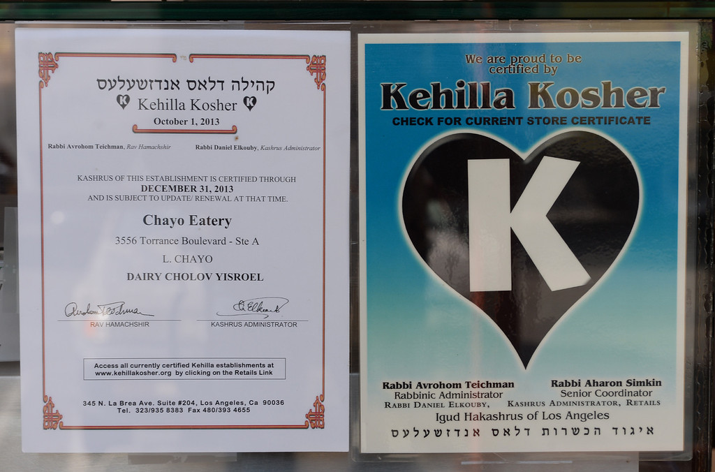 . Kosher certification. Chayo Eatery in Torrance is a kosher restaurant filling a niche in the local Jewish community. They make fresh pizzas, salads, soups and sandwiches. Photo by Brad Graverson/The Daily Breeze 01/03/14