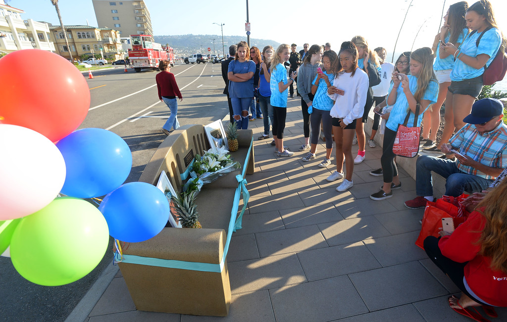 . Friends of Ciara Smith gather before a ceremony to dedicate a bench in her memory in Redondo Beach on Wednesday, September 20, 2017. Several dozen friends, family and others gathered on Esplanade near Knob Hill Avenue to dedicate a bench and garden in the memory of 13-year-old Ciara Smith. Smith was killed in May when she was struck by a bus as she was riding a bike with a friend nearby on Pacific Coast Highway. (Photo by Scott Varley, Daily Breeze)