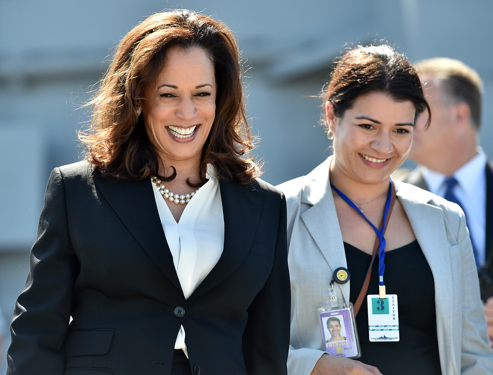 . 40 young people became US citizens Monday morning July 3, 2017 aboard the USS Iowa during Independence Day Citizenship Ceremony with keynote speaker Senator Kamala Harris. Sen Harris departs ceremony with staff member. Photo by Robert Casillas, Daily Breeze/SCNG