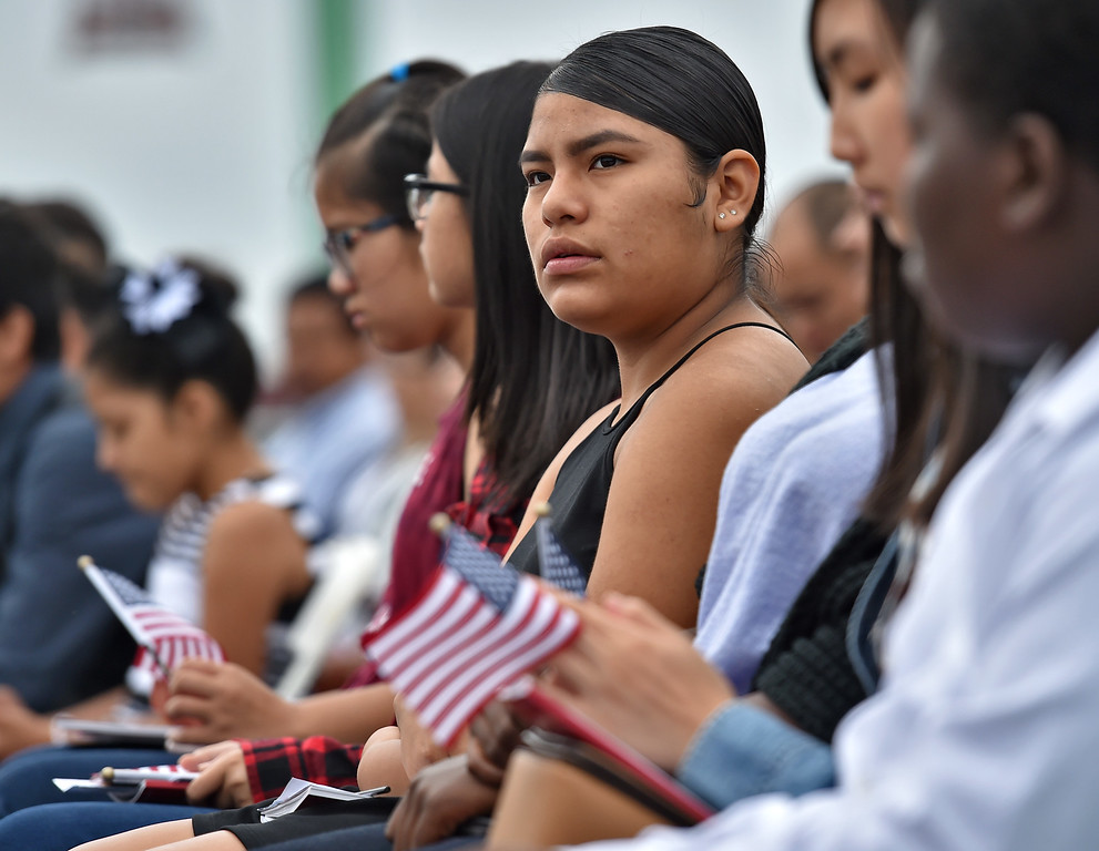 . 40 young people became US citizens Monday morning July 3, 2017 aboard the USS Iowa during Independence Day Citizenship Ceremony with keynote speaker Senator Kamala Harris. Gardena resident Andrea Navarro became a US citizen. Photo by Robert Casillas, Daily Breeze/SCNG