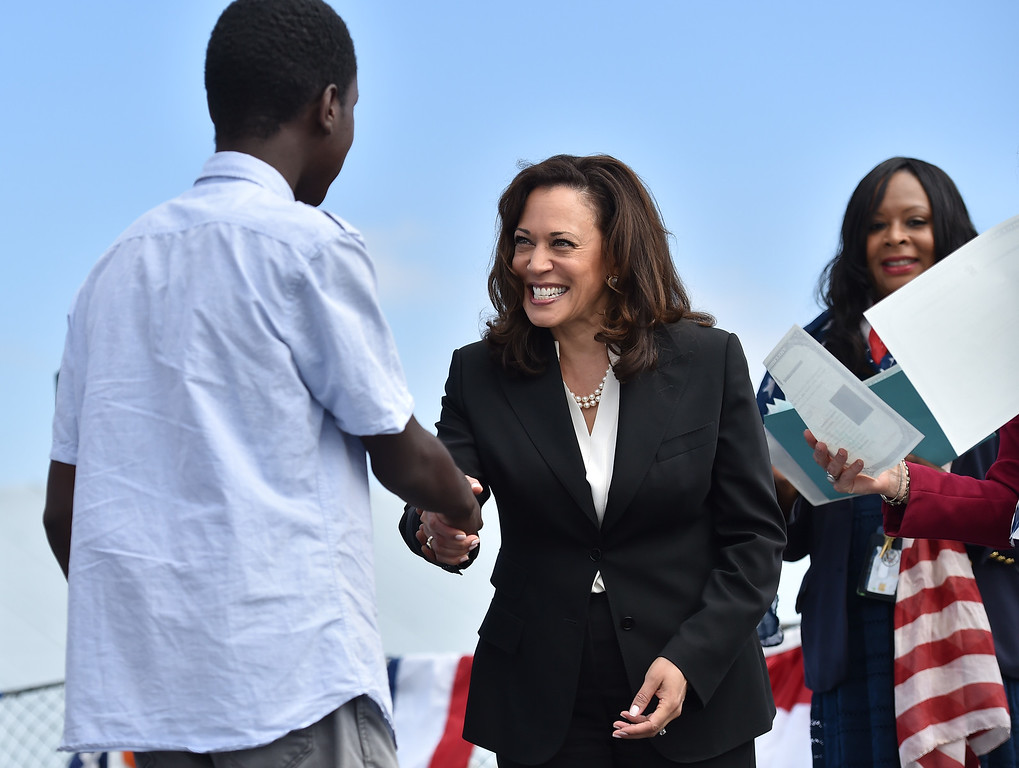 . 40 young people became US citizens Monday morning July 3, 2017 aboard the USS Iowa during Independence Day Citizenship Ceremony with keynote speaker Senator Kamala Harris.  Photo by Robert Casillas, Daily Breeze/SCNG