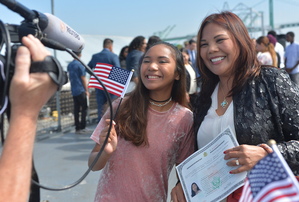 . 40 young people became US citizens Monday morning July 3, 2017 aboard the USS Iowa during Independence Day Citizenship Ceremony with keynote speaker Senator Kamala Harris. Catherine Easley, left, smiles after gaining citizenship. Photo by Robert Casillas, Daily Breeze/SCNG