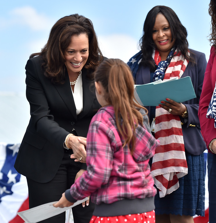. 40 young people became US citizens Monday morning July 3, 2017 aboard the USS Iowa during Independence Day Citizenship Ceremony with keynote speaker Senator Kamala Harris. Sen Harris congratulates young citizen. Photo by Robert Casillas, Daily Breeze/SCNG