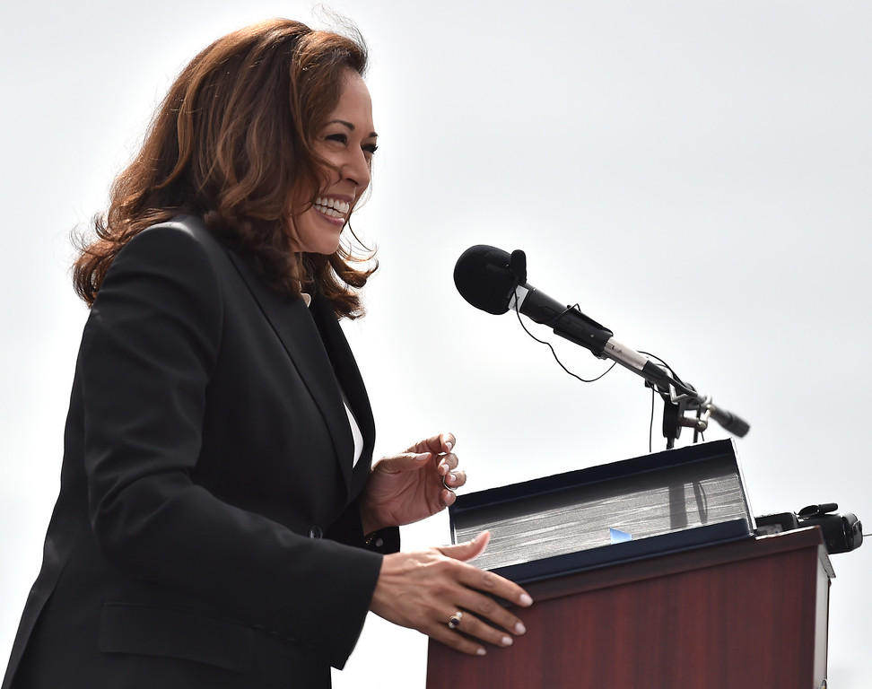 . 40 young people became US citizens Monday morning July 3, 2017 aboard the USS Iowa during Independence Day Citizenship Ceremony with keynote speaker Senator Kamala Harris. A smiling Sen. Harris congratulates new citizens. Photo by Robert Casillas, Daily Breeze/SCNG