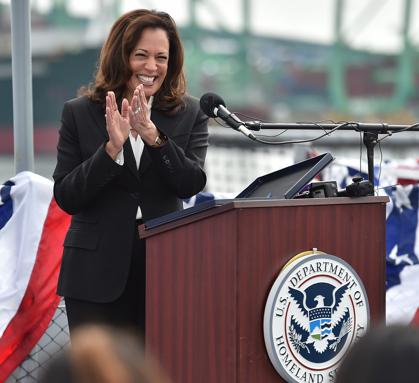 . 40 young people became US citizens Monday morning July 3, 2017 aboard the USS Iowa during Independence Day Citizenship Ceremony with keynote speaker Senator Kamala Harris. Harris applauds new citizens. Photo by Robert Casillas, Daily Breeze/SCNG