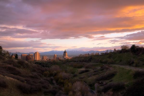 Salt Lake City Spring Sunset