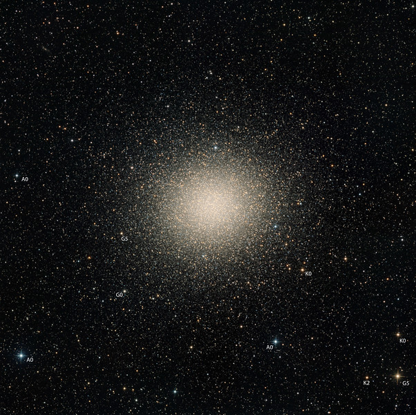 "Omega Centauri. The stars of omega are mostly extremely old, and cooler than the sun. This, combined with reddening due to dust, should produce a general pastel orange appearance. To help you interpret the image, we have labelled several stars with their spectral types. We have chosen to represent the G0 star at 8 o'clock a pale yellow. A close look at the core shows many ""blue stragglers"". There are a smattering of brighter red giants most noticeable further out from the core. There is an edge-on galaxy toward top left of field. The cluster seems not to be a perfect ball, but seems to show fat fingers of stars radiating far outward.<br /> <br /> Nine panel mosaic. Total exposure 12 hrs in 10 minute subs. Aspen CG16M on 20"" PlaneWave. Full moon. Field 1.08 degrees wide, North up. 0.55 sec arc per pixel."