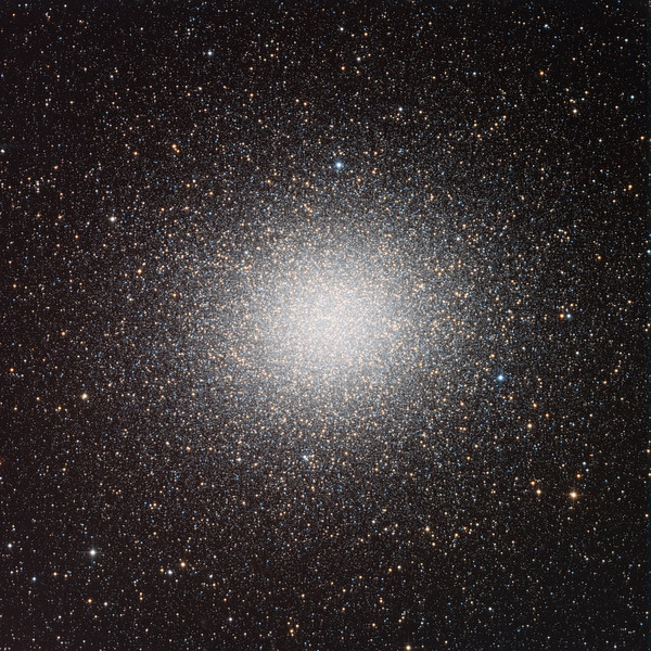 "Omega Centauri, the Big One. Our goal here was to come as close as we could to the European Southern Observatory Very Small Telescope publication shot, in terms of resolution and depth (number of faint outer stars), and processing (colour balance and saturation, not burning out the core, but preserving its relationship to the field. The ESO argue that their shot is ""possibly the very best portrait of Omega Centauri ever made"". We think we've matched them.  RGB 8 x 3 minute frames each (72 mins total). Aspen CG16M on 20"" PlaneWave."