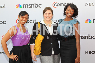 Monisha Smith, Hope Stephens, Manoucheka Attime. Photo by Alfredo Flores. Comcast's 15th Anniversary Party for MSNBC. America's Square 300 New Jersey. July 7, 2011