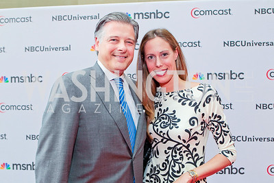 Christopher Putala, Allison Putala. Photo by Alfredo Flores. Comcast's 15th Anniversary Party for MSNBC. America's Square 300 New Jersey. July 7, 2011