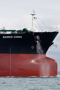 Samco China  a large commercial oil ship departs from Southampton UK. Cathy Vercoe LuvMyBoat.com