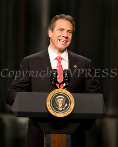 On Tuesday, May 8, New York State Governor Andrew Cuomo introduces President Barack Obama, who traveled to the College of Nanoscale Science and Engineering's (CNSE) Albany NanoTech Complex at the State University of New York in Albany, New York to discuss the economy. Hudson Valley Press/CHUCK STEWART, JR.