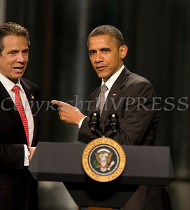 On Tuesday, May 8, New York State Governor Andrew Cuomo greets President Barack Obama, who traveled to the College of Nanoscale Science and Engineering's (CNSE) Albany NanoTech Complex at the State University of New York in Albany, New York to discuss the economy. Hudson Valley Press/CHUCK STEWART, JR.