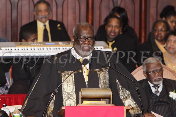 Rev. Ronald Grant offers the Installation Sermon during the installation service of Rev. Dr. Bruce Davis on Sunday, February 26, 2012 in Newburgh, NY. Hudson Valley Press/CHUCK STEWART, JR.
