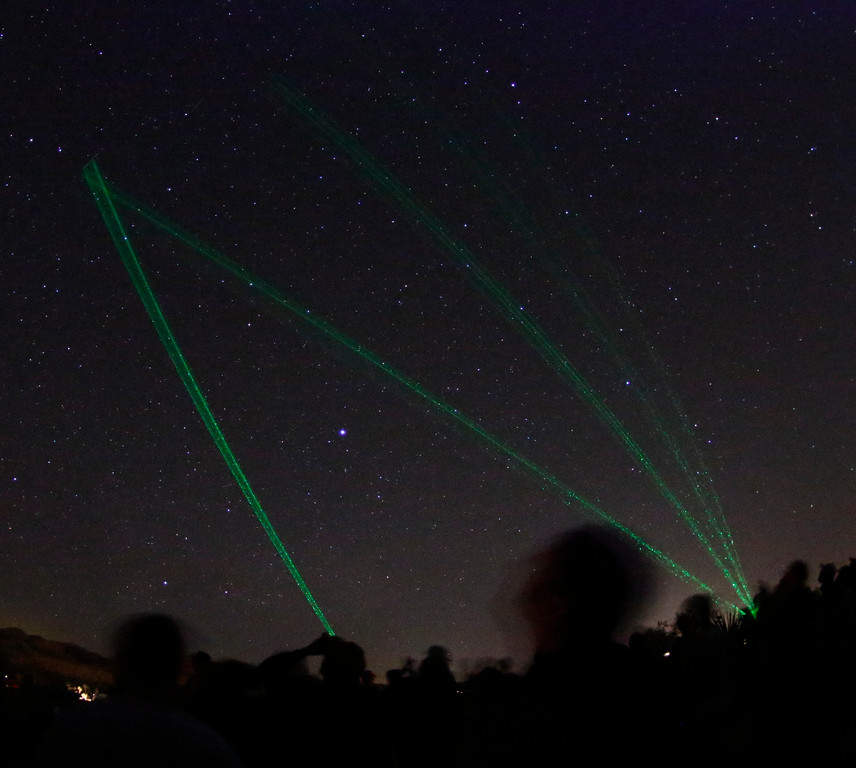 . May 20,2017. Twenty-nine Palms Ca. Hundreds of UFO fans attend the CITD Night Vision Experience Saturday. As they look into the night skies with night vision goggles and using laser light pins to track unknown objects crossing the night skies. The 5th annual Contact in the Desert event took place at the Joshua Tree Retreat Center were over 3,000 UFO fans of the History Channel\'s  Ancient Aliens  came out for the 3 day event.  Photo by Gene Blevins/LA DailyNews/SCNG