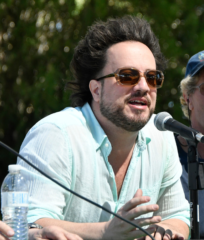 . May 20,2017. Twenty-nine Palms Ca. dHistory Channel\'s Ancient Aliens Giorgio A. Tsoukalos talks during the 5th annual Contact in the Desert at the Joshua Tree Retreat Center Saturday. Over 3,000 UFO fans of the History Channel\'s  Ancient Aliens  came out for the 3 day event.  Photo by Gene Blevins/LA DailyNews/SCNG