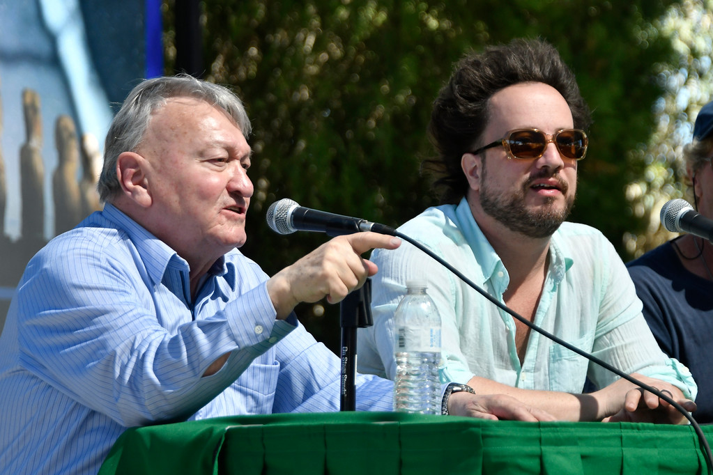 . May 20,2017. Twenty-nine Palms Ca.  (L-R) History Channel\'s Ancient Aliens theorist Erich von Däniken and Giorgio A. Tsoukalos talks during the 5th annual Contact in the Desert at the Joshua Tree Retreat Center Saturday. Over 3,000 UFO fans of the History Channel\'s  Ancient Aliens  came out for the 3 day event.  Photo by Gene Blevins/LA DailyNews/SCNG