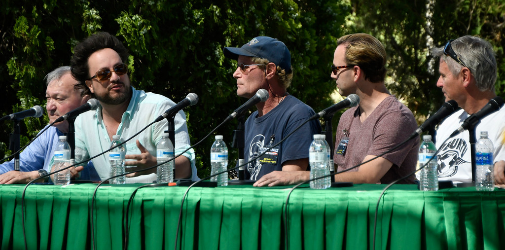 . May 20,2017. Twenty-nine Palms Ca.  History Channel\'s Ancient Aliens cast talk during the 5th annual Contact in the Desert at the Joshua Tree Retreat Center Saturday. Over 3,000 UFO fans of the History Channel\'s  Ancient Aliens  came out for the 3 day event.  Photo by Gene Blevins/LA DailyNews/SCNG