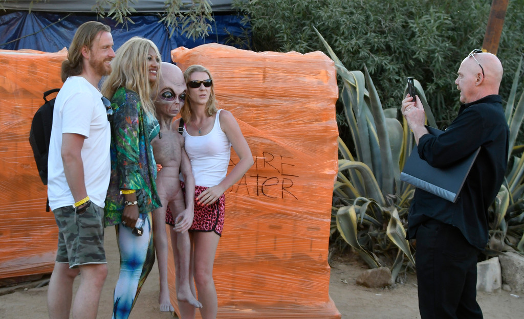 . May 20,2017. Twenty-nine Palms Ca. Ancient Aliens UFO fans attend 45h annual Contact in the Desert at the Joshua Tree Retreat Center Saturday. Over 3,000+ fans of the cable show History Channel\'s Ancient Aliens  came out for the 3 day event to see all the cast members of the show and other aliens type seminars. Photo by Gene Blevins/LA DailyNews/SCNG