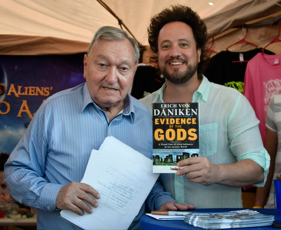 . May 20,2017. Twenty-nine Palms Ca.  (L-R) History Channel\'s Ancient Aliens theorist Erich von Däniken and Giorgio A. Tsoukalos pose together at a book signing during the 5th annual Contact in the Desert at the Joshua Tree Retreat Center Saturday. Over 3,000 UFO fans of the History Channel\'s  Ancient Aliens  came out for the 3 day event.  Photo by Gene Blevins/LA DailyNews/SCNG