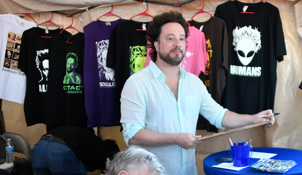 . May 20,2017. Twenty-nine Palms Ca. History Channel\'s Ancient Aliens Giorgio A. Tsoukalos talks during the 5th annual Contact in the Desert at the Joshua Tree Retreat Center Saturday. Over 3,000 UFO fans of the History Channel\'s  Ancient Aliens  came out for the 3 day event.  Photo by Gene Blevins/LA DailyNews/SCNG
