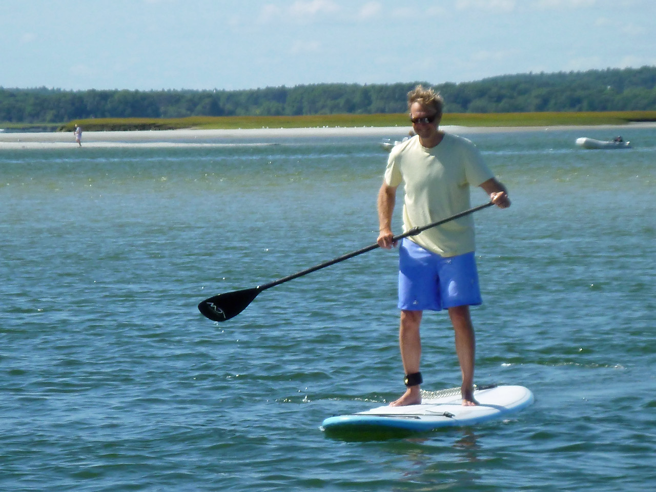 David M: Paddle boarding really is easy. Even David A can do it!