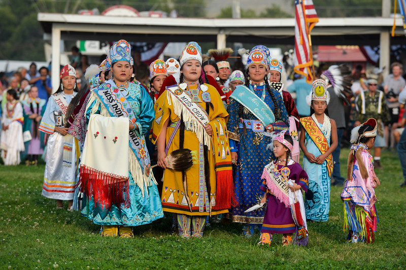 Ashleigh Fox | The Sheridan Press<br /> Princesses from throughout North America line up during the 100th Crow Fair Friday, Aug. 17, 2018.