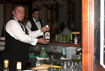 My bartender at the bar in the corner of the beautiful veranda. Note all the Mojitos...the most popular drink at the Nacional! I had three...oh dear.