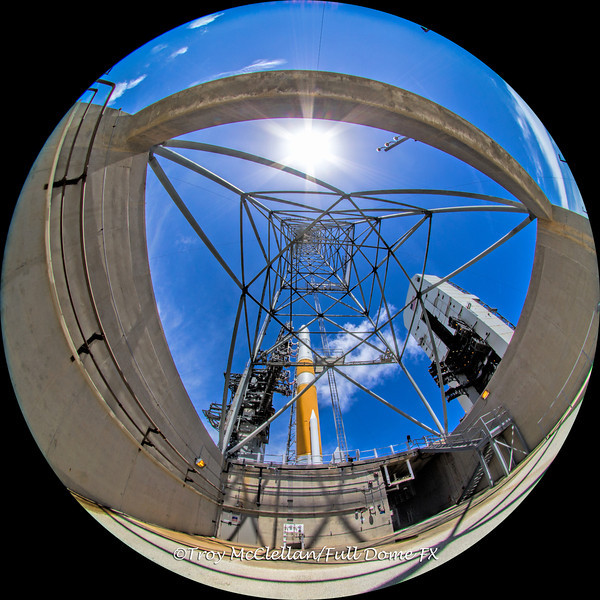 This is a fisheye view from underneath one of the lightning towers.