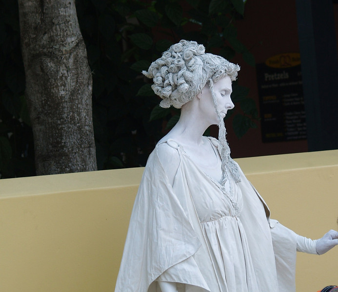 Street performer in St Augustine.....It was a 100 degrees that day ....how does she not sweat??
