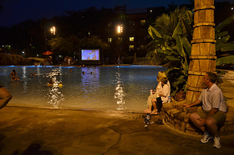 Watch a Disney movie while you swim at Disney.