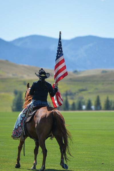 Ashleigh Fox | The Sheridan Press<br> Sheridan WYO Rodeo 2019 Queen Katie Bailey rides with the flag at the Big Horn Equestrian Center during Don King Days Sunday, Sept. 2, 2018.