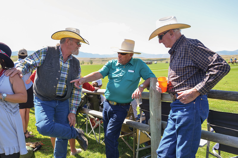 Ashleigh Fox | The Sheridan Press<br> From left, Dusty Hackett, Bob Davidson and Ronnie Bloxham chat while enjoying Don King Days Sunday, Sept. 2, 2018.