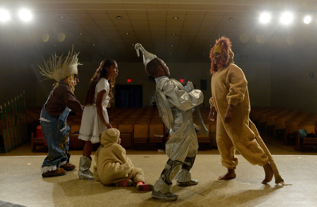 ". Jonay Armstrong, 10 The Lion, Kyle Baptiste, 10 The Tinman, Khloe Bayloe, 5 Toto, Jazlyn Trujillo, 11 Dorothy and David Lozano, 8 The Scarecrow, as students at Starr King Elementary School rehearse for the musical ""The Wiz,\""  which will be the first play at the school in more than a decade in Long Beach, CA. Tuesday June 3, 2014. The play will premiere at the school on Friday. (Thomas R. Cordova-Daily Breeze/Press-Telegram)"