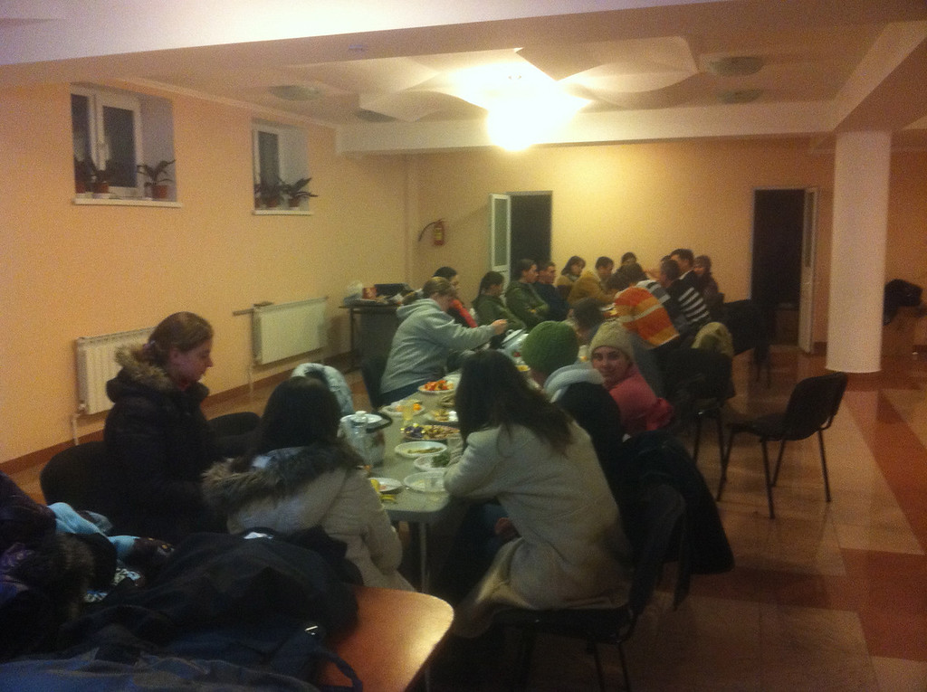 At the end of the caroling trip we went back to the church for a large Moldovan style family meal. The food was delicious.