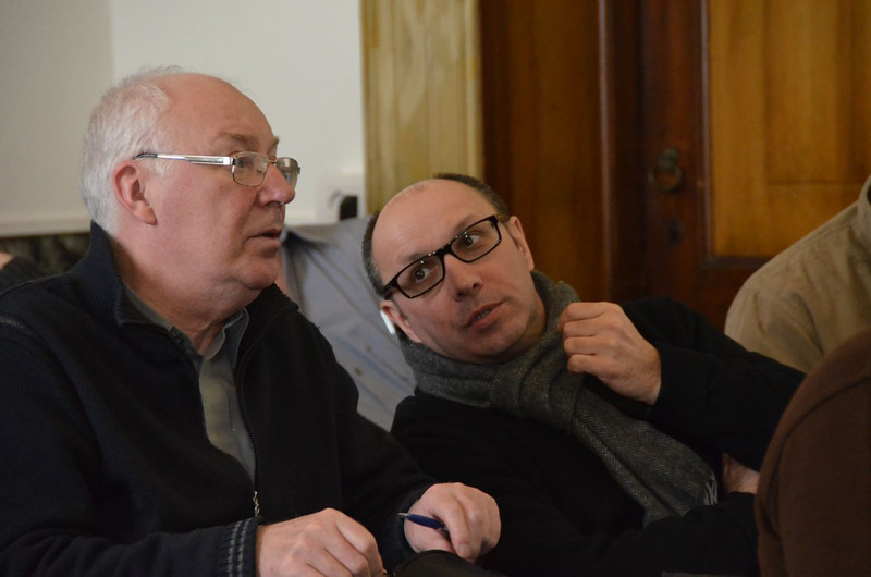 Fr. Ryszard Krupa (right) talks about the day ahead.