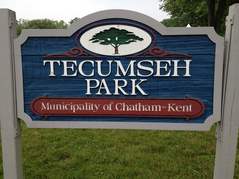 This is the park in Chatham-Kent, the first stop. It turns out there was a skirmish there. The battle sight is past Thamesville, further east by about 20 miles.