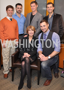 Top Row: John Sage, Kreg Kelly, Nicholas Marcinko,  Chris Rodousakin         Bottom: Donna Evers, John Coplen Evers & Co. Art Exhibition, November 17, photo by Ben Droz