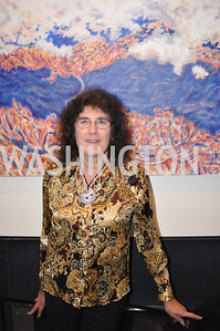 Marian Osher with Artwork Evers & Co. Art Exhibition, November 17, photo by Ben Droz