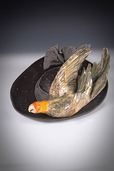 sn 402. Carolina Parakeet on Hat