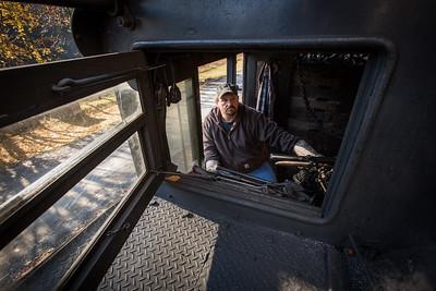 Engineer Danny Seldomridge inside the cab of Western Maryland Shay 6.