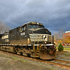 A grab shot of a empty NS coal train in Ithaca, NY.