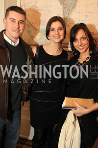 Kieran O'Neil, Samantha Macola, Simone Petrella. Fashion Takes Flight 2011 - A Night to Benefit Luke's Wings at The Adams Morgan Mansion. Photo by Alfredo Flores. January 28, 2011.