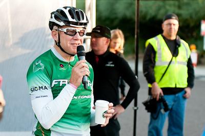 Bob Roll addressing the riders of the 2012 Faster Gran Fondo.
