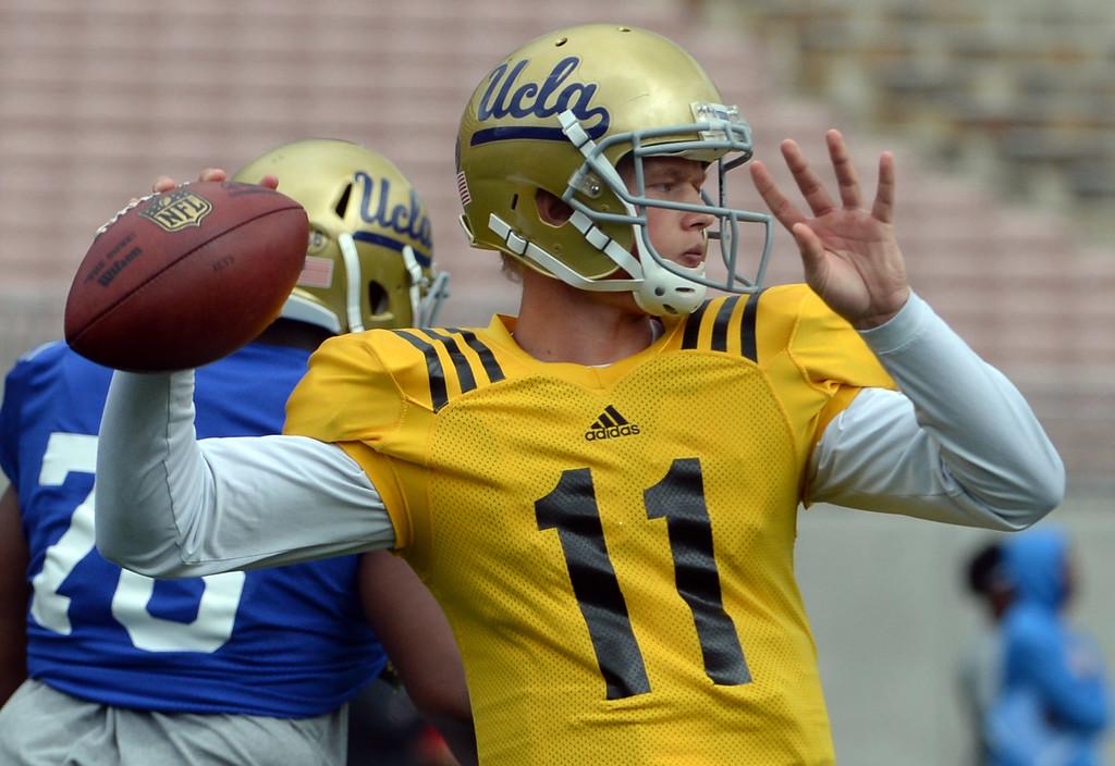 . UCLA Bruins quarterback Jerry Neuheisel during a NCAA college spring football game at the Rose Bowl in Pasadena, Calif., Saturday, April 25, 2015. (Photo by Keith Birmingham/ Pasadena Star-News)