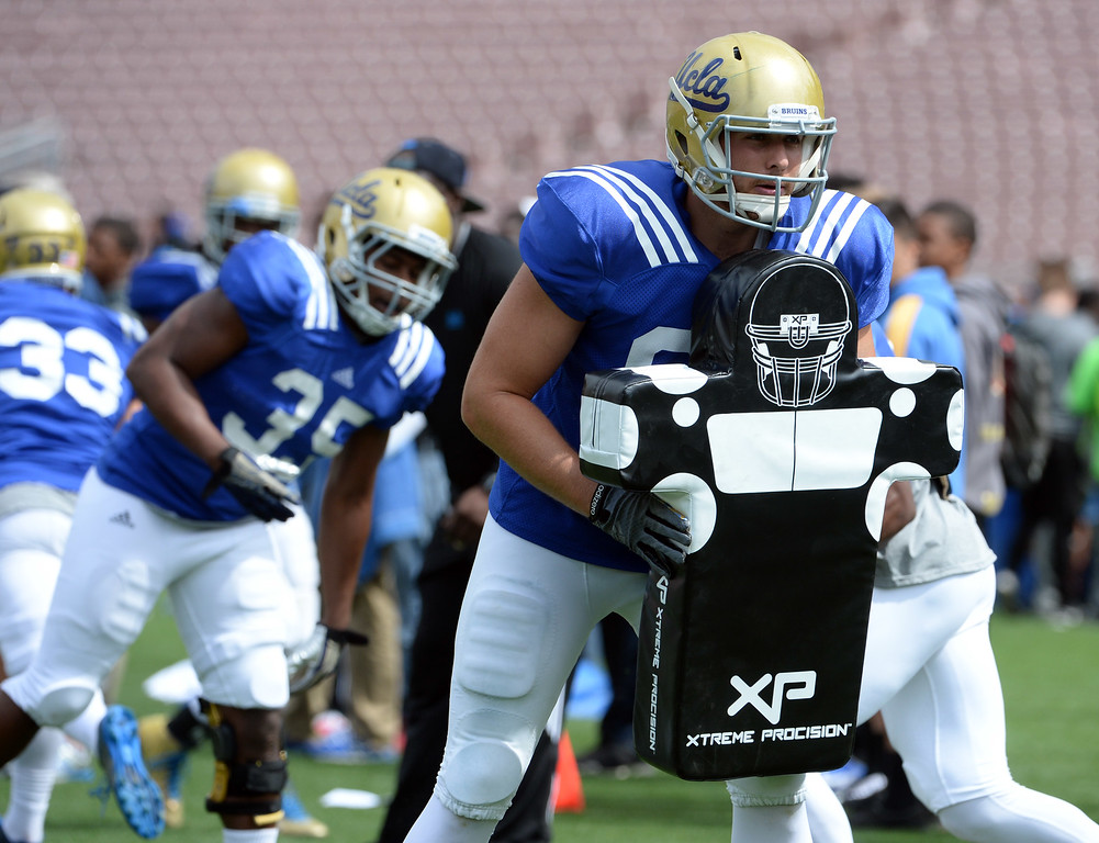 . UCLA Bruins Colby Cyburt during a NCAA college spring football game at the Rose Bowl in Pasadena, Calif., Saturday, April 25, 2015. (Photo by Keith Birmingham/ Pasadena Star-News)