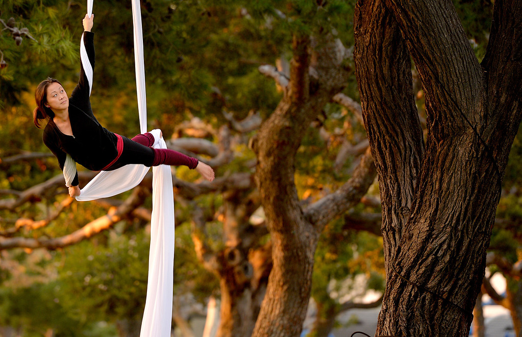 . Lisa La, of Seal Beach,  dances among the trees as she goes through aerial silks workout at Mother Beach in Long Beach, CA. December 18, 2013. (Thomas R. Cordova/Press-Telegram/Daily Breeze)