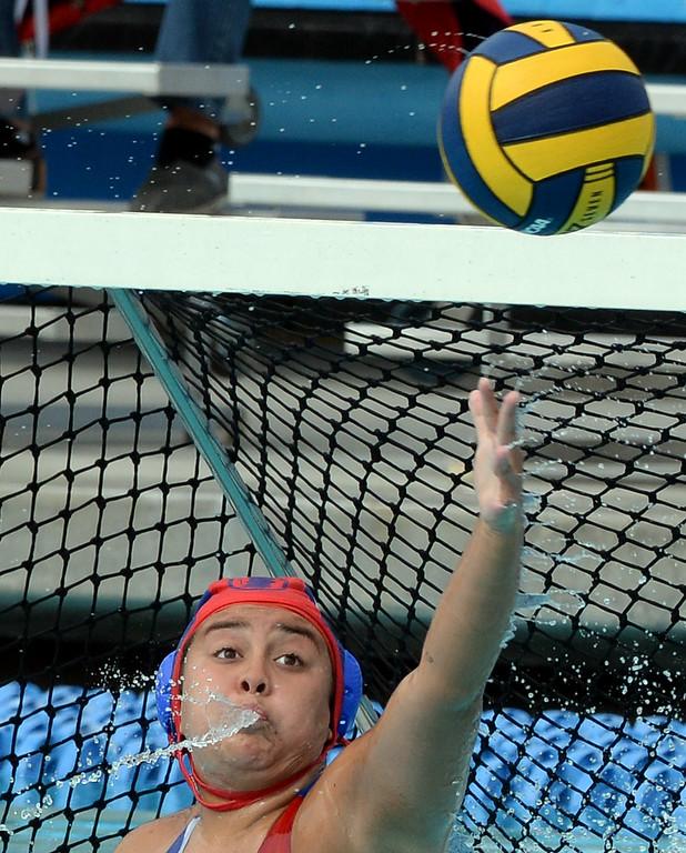 . Los Altos\' goalie Samantha Murillo (1) blocks a Palm Desert shot in the first half of a Division 5 Championship water polo match at William Woollett Jr. Aquatics Center in Irvine, Calif., on Saturday, February 28, 2015. Los Altos won 8-7. (Photo by Keith Birmingham/ Pasadena Star-News)